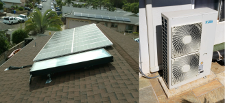 8' SunTrac panel powering a Daikin 4-ton multi-zone outdoor unit + 4 indoor units (24,000 BTU, 12,000 BTU, 2 9,000 BTU)