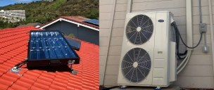 8' SunTrac panel powering a Carrier 4 Ton Multi Zone air conditioner