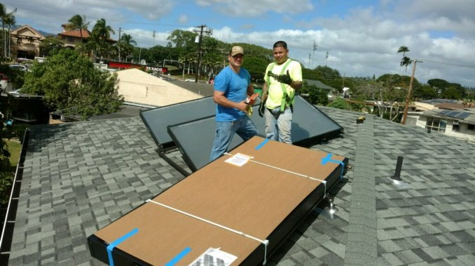 8' SunTrac panel powering a Mitsubishi 3 Ton Dual Zone air conditioner