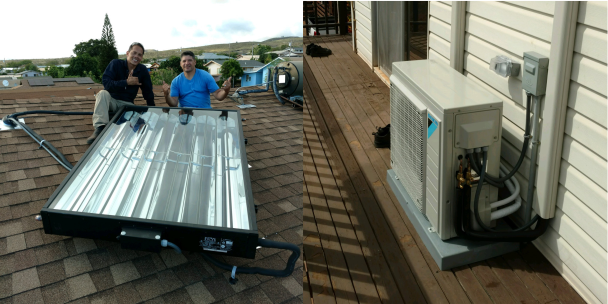 6' SunTrac panel powering a Daikin 36,000 BTU air conditioner