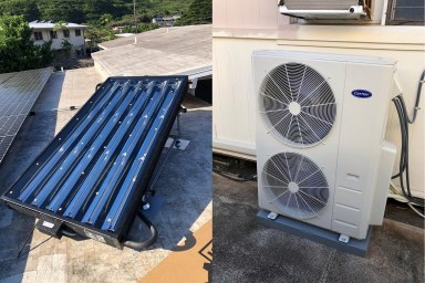 8' SunTrac SmartPanel powering a 4 Ton Carrier air conditioner