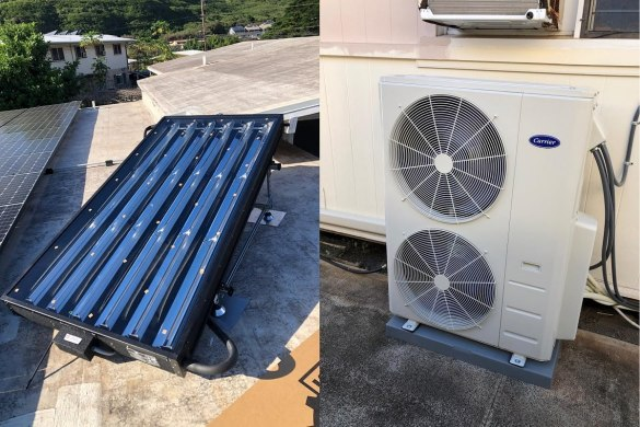 8-feet SunTrac SmartPanel powering a 4 Ton Carrier air conditioner